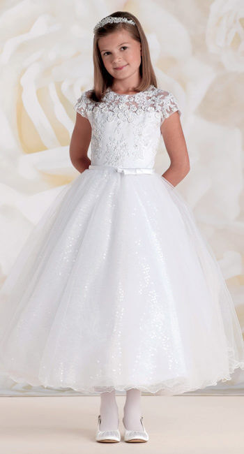 girl in first communion dress